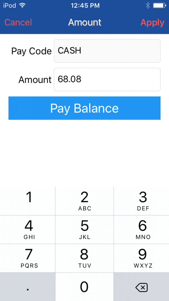 payment with mobile point of sale anywhere pay balance screen